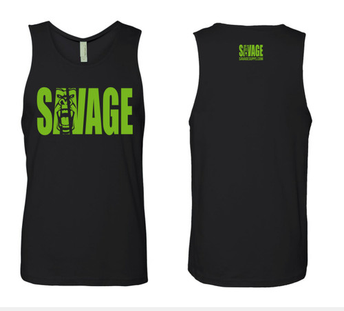 black soft material tank top with green savage lettering on front and back.
