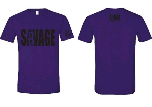 purple soft material t shirt with black savage lettering on front and back. black savage logo on left sleeve.