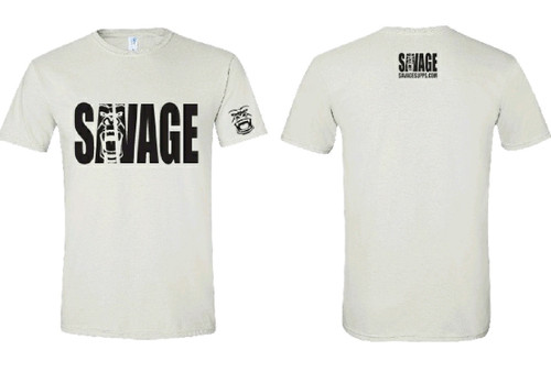 white soft material t shirt with black savage lettering on front and back. black savage logo on left sleeve.