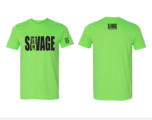 neon green soft material t shirt with black savage lettering on front and back. black savage logo on left sleeve.