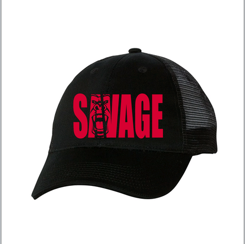 black mesh hat with red savage lettering.