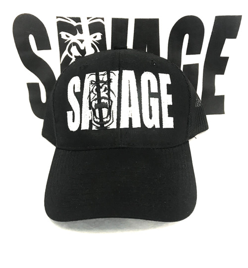 black mesh hat with white savage lettering.