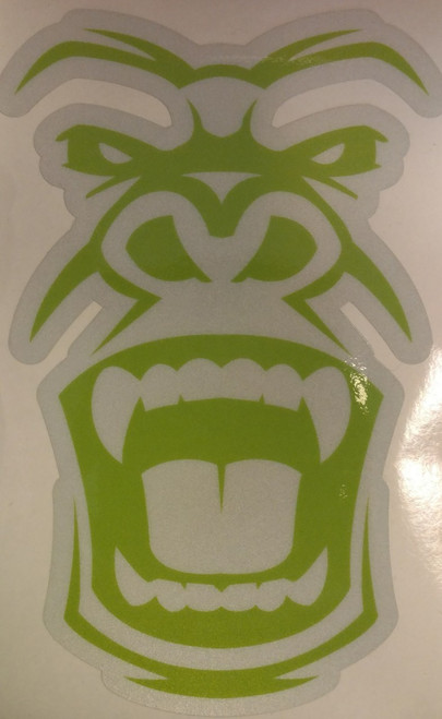 small white sticker with green savage logo.