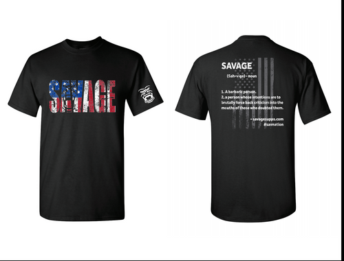 black shirt with red, white, and blue savage lettering in front, white savage description in back. soft material.