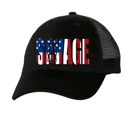 black mesh hat with red, white, and blue savage lettering.