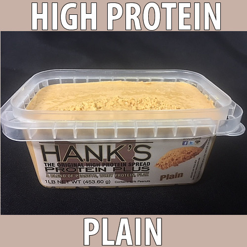 clear plastic lid, clear plastic container with white label and black lettering. plain flavored peanut butter.