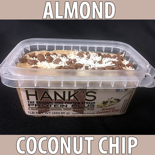 clear plastic lid, clear plastic container with white label and black lettering. almond coconut chip flavored almond butter.