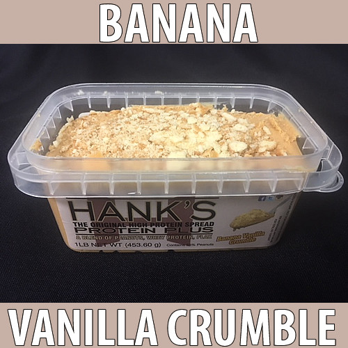 clear plastic lid, clear plastic container with white label and black lettering. banana vanilla crumble flavored peanut butter.