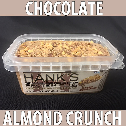 clear plastic lid, clear plastic container with white label and black lettering. chocolate almond crunch flavored almond butter.