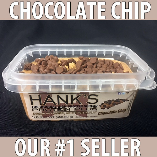 clear plastic lid, clear plastic container with white label and black lettering. chocolate chip flavored peanut butter.