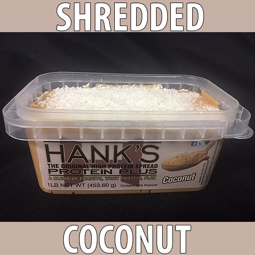 clear plastic lid, clear plastic container with white label and black lettering. shredded coconut flavored peanut butter.