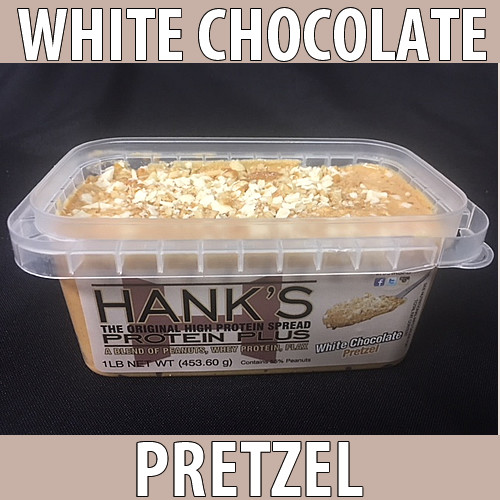 clear plastic top, clear plastic container with white label and black lettering. white chocolate pretzel flavored peanut butter.