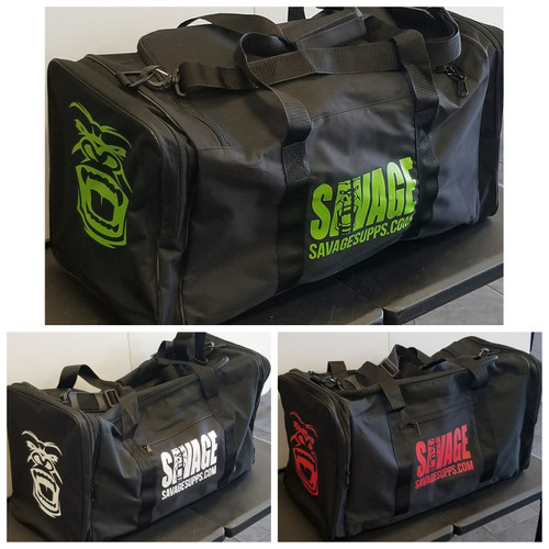 Large high quality Savage gorilla logo gym bag, various colors available.  Black with Green savage gorilla logo, black with white savage gorilla logo, black with red savage gorilla logo and black with purple savage gorilla logo