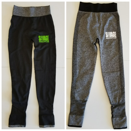 Ladies savage gorilla logo leggings.  Black with green gorilla logo and grey waist band.  Grey legging with white gorilla logo and black waist  band.