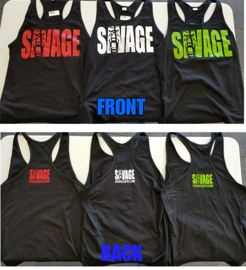 Y back Stringer Tank top, Savage gorilla logo, various colors.  Black with Red logo, Black with White logo, Black with Green logo