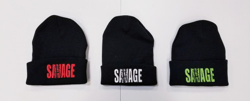 Winter savage logo beanie in a variety of colors.  Available in Black with Red logo, Black with White logo, Black with Green logo