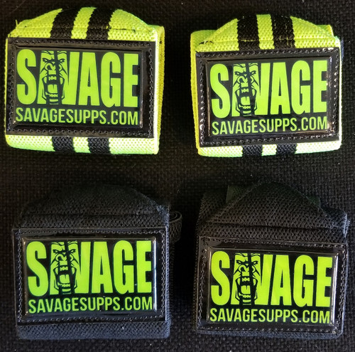 black with green wrist supports and on front savage logo.