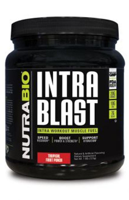 black bcaa container with green logo tropical fruit punch flavor nutra bio intra blast.