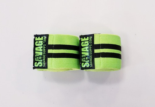 SAVAGE KNEE WRAP LIME GREEN WITH BLACK STRIPES AND SAVAGE LOGO