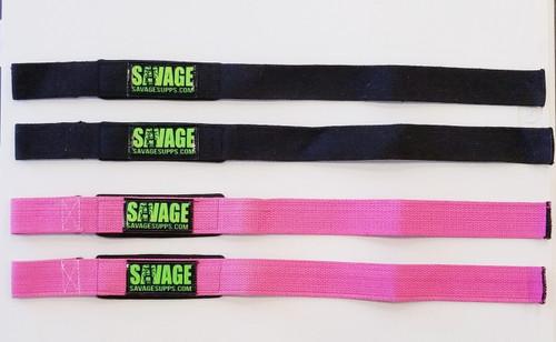 All black padded savage wrist straps with green savage logo.