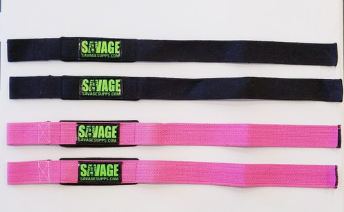 All black padded savage wrist straps with green savage logo.