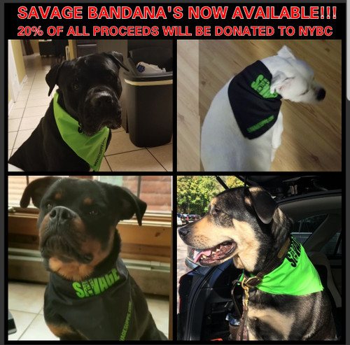 SAVAGE BANDANA BLACK WITH GREEN WRITING