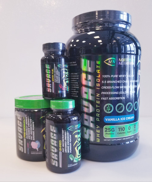 savage stack featuring out savage whey protein powder, black container green lid savage preworkout. black bottle green lid green pills fat burner savage shred.Savage Brain fuel focus pill