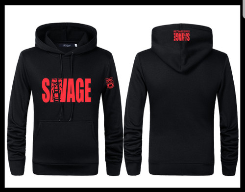 All black sweat shirt savage logo with gorilla face