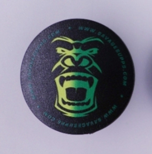 SAVAGE POP SOCKET BLACK BACKGROUND WITH YELLOW AND GREEN GORILLA FACE.