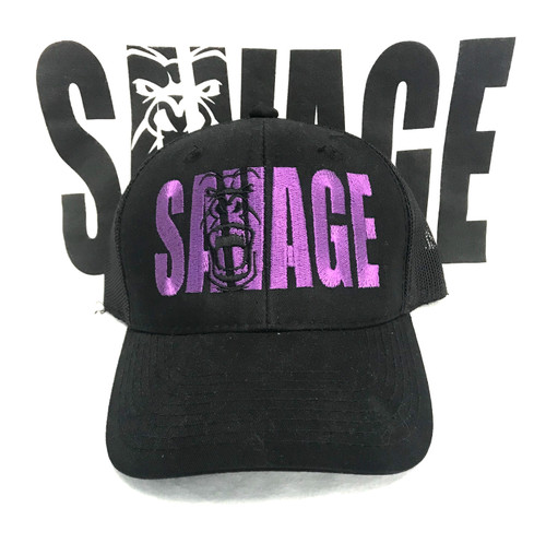 ALL BLACK SAVAGE HAT WITH PURPLE WRITING