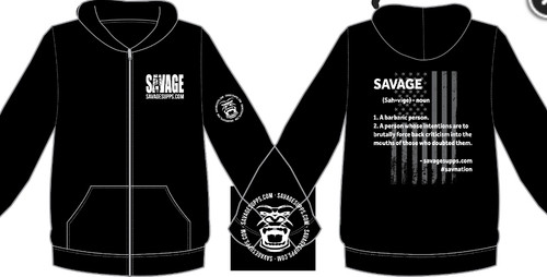 SAVAGE ZIP UP HOODIE SWEATSHIRT WITH GORILLA FACE ON SLEEVE