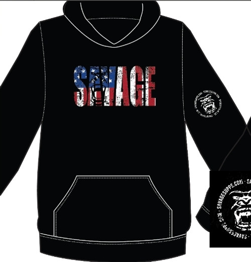 SAV NATION FLAG LOGO GORRILLA HEAD HOODIE SWEAT SHIRT
