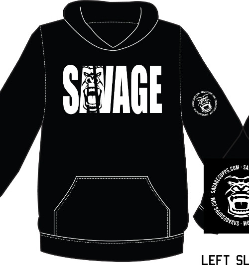 ULTRA SOFT SAVAGE HOODIE SWEATSHIRT BLACK W/WHITE LOGO. UNISEX BUT IN MEN'S SIZES