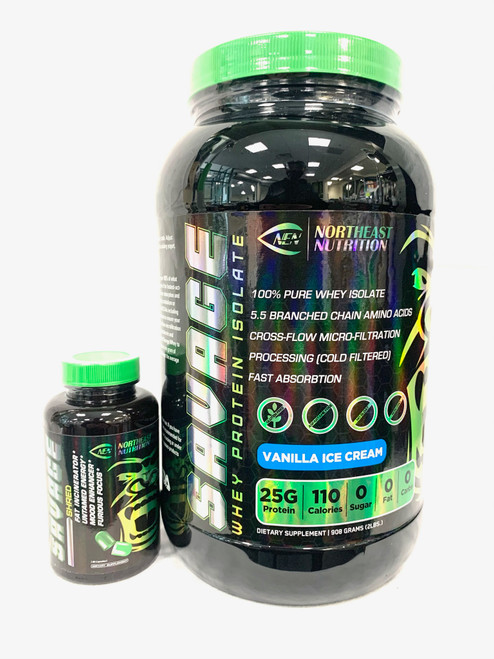 SAVAGE WHEY PROTEIN ISOLATE WITH SAVAGE SHRED STACK. BLACK BOTTLE GREEN LID.