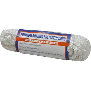 "Sea-Dog Solid Braid Polyester Cord Hank - 5/32"" x 50' - White"