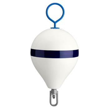 "Polyform Mooring Buoy w/Iron 13.5"" Diameter - White Blue Stripe"