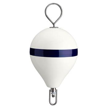 "Polyform Mooring Buoy w/SS 13.5"" Diameter - White Blue Stripe"