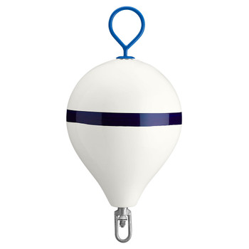 "Polyform Mooring Buoy w/Iron 17"" Diameter - White Blue Stripe"