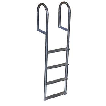 Dock Edge Welded Aluminum Fixed Wide Step Ladder - 4-Step