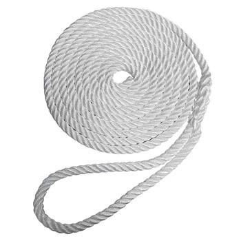 """Robline Premium Nylon 3 Strand Dock Line - 1/2"""" x 25' - White"""
