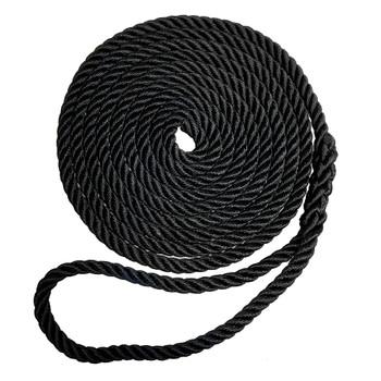 "Robline Premium Nylon 3 Strand Dock Line - 5/8"" x 25' - Black"