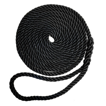 "Robline Premium Nylon 3 Strand Dock Line - 5/8"" x 30' - Black"