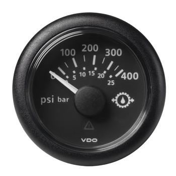 "VDO Marine 2-1/16"" (52mm) ViewLine Transmission Oil Pressure 400 PSI/25 Bar - 8-32V - Black Dial & Round Bezel"