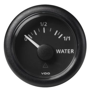 "VDO Marine 2-1/16"" (52mm) ViewLine Fresh Water Resistive 0-1/1 - 8-32V - 3-180 OHM - Black Dial & Round Bezel"