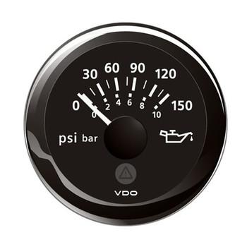 "VDO Marine 2-1/16"" (52mm) ViewLine Oil Pressure Indicator (8-16V) 0 to 150 PSI - Black Dial & Round Bezel"