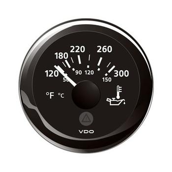 "VDO Marine 2-1/16"" (52mm) ViewLine Oil Temperature Gauge 120-300F - Black Dial & Bezel"