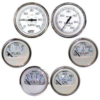 Faria Chesapeake White w/Stainless Steel Bezel Boxed Set of 6 - Speed, Tach, Fuel Level, Voltmeter, Water Temperature & Oil PSI