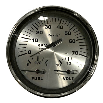 "Faria Spun Silver 5"" Multifunction 3-in-1 Combination Gauge w/Tachometer, Fuel & Voltmeter"