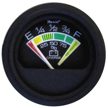 "Faria Heavy-Duty 2"" Battery Condition Indicator - 12 VDC - Black *Bulk Case of 24*"