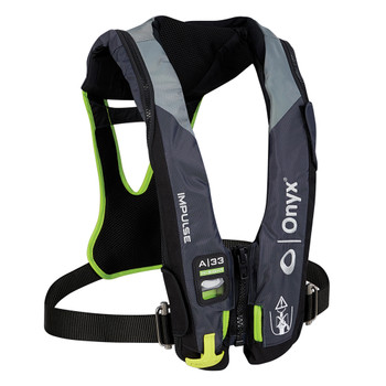 Onyx Impulse A-33 In-Sight w/Harness Automatic Inflatable Life Jacket (PFD) - Grey/Neon Green